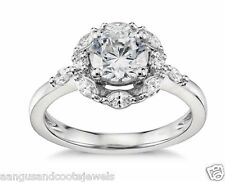 2.10 CT ROUND & MARQUISE CUT DIAMOND ENGAGEMENT RING IN SOLID 14KT WHITE GOLD