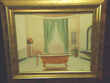 UNIQUE FRENCH TUB SCENE-FRAMED & MATTED BY V. DUPONT-BEAUTIFUL GOLD WOODEN FRAME
