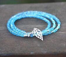 Natural Swiss Blue Topaz, Green Quartz Necklace Wrap Bracelet Sterling Silver