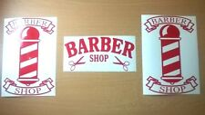 "red 9"" barber pole shop kit 3 window signs barbers pole vinyl sticker wall art"