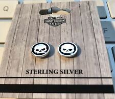Harley-Davidson HDE0499 Willie-G Skull Sterling Silver Circle Post Earrings