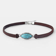 Bohemian Turquoise American Style Minimalist Suede Leather Boho Choker Necklace