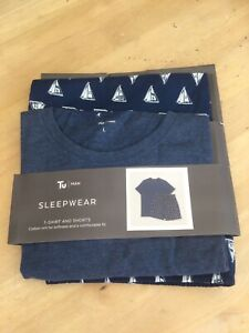 Tu Man Sleepwear Size Larege T Shirt & Shorts Set With Boat Print.          b