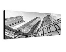 150x50cm Panoramabild Schwarz Weiss - Deutsche-Bank-Hochhaus Frankfurt Hochhaus