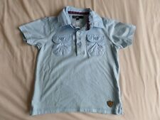 M&S Boys Pale Blue 100% Cotton Short Sleeve Polo T-Shirt Size 2-3 Years