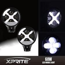 "2 Xprite White LED Fog Spot Light 6"" 60W Round X DRL Turn Signal Reverse Offroad"