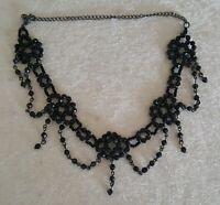 Black glass bead vintage Art Deco antique dangly tassel necklace