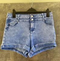USED - TOP SHOP - blue denim - Hot pant shorts - size 16