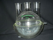 Chemglass 45/50 Vertical 3-Neck 6000mL 6L Half Jacketed Round Bottom Flask
