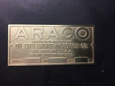 New Araco Etched Brass Tag Antique Gas Engine Hit Miss