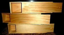 LOT OF 4 NEW SMALL LONG PINE BOX WITH SLIDE LID/ STORAGE /DISPLAY BOX/ GIFT BOX