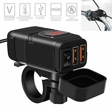 QC 3.0 Motorcycle Dual USB Phone GPS Quick Charger Adapter Red LED Waterproof