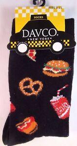 Davco Junk Food Burgers Fries Pretzels Socks Womans Black Ladies Sock New