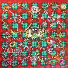 NEW RARE Scottish Plaid Flowers HERMES Fleurs d'Ecosse SILK SCARF by Sylvia Kerr