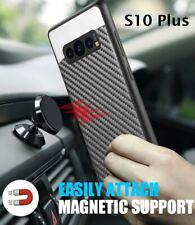 For Samsung Galaxy S10+ PLUS - Magnetic Backplate BLACK Carbon Fiber Rubber Case