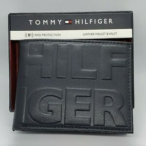 TOMMY HILFIGER MENS AUTHENTIC WALLET SLIM BILLFOLD LEATHER NAVY/RED HILFIGER LOG