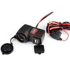 Input 12V Motorcycle Cigarette Lighter Power Dual USB Port Outlet Socket Black