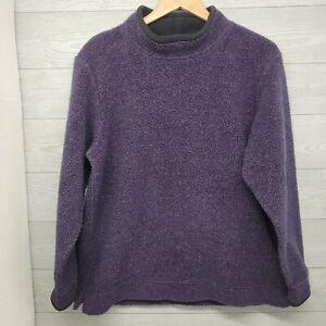 LL Bean Womens Fleece Pullover Sweatshirt Purple Medium Mock Neck
