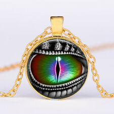 Rainbow Dragon's Eye Glass dome Necklace chain Pendant Wholesale Jewelry Gold