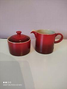 Le Creuset Stoneware Milk Jug And Sugar Pot Set Cerise Red