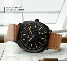 Luxury Men's Waterproof Quartz Watch With Real Leather Strap and Calender