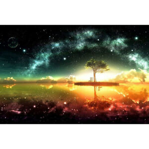 Drill Diamond Painting Kit Like Cross Stitch Starry Sky Tree Universe DIY ZC010C