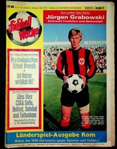 FUSSBALL WOCHE, Nr.9/1974: JÜRGEN GRABOWSKI (FRANKFURT) FARBE: 1. FC SAARBRÜCKEN