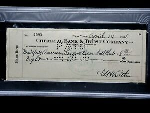 BABE RUTH CHECK TO NY YANKEES! PSA/DNA CERTIFIED SIGNED AUTOGRAPH GEM MINT RARE!