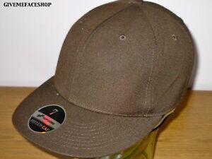BRAND NEW PLAIN FITTED HAT CAP FLAT PEAK BROWN
