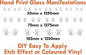 Glass manifestations 1250mm, safety stickers, hand print 50mm / 75mm /100mm high