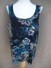 New Chico's Soldout Easywear Slinky Paisley Passion Blue Tank Top 3 XL 16 18 NWT