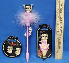 Betty Boop Pink Flashing Pen, Earrings and Betty Boop Bag Tag  Lot of  3