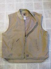 BERNE Sherpa Lined VEST XL-Reg Zipper Front Chore Ranch Canvas Duck Cloth Beige