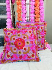 Indian Suzani Embroidered Cushion Cover 16x16 Cotton Square Throw Pillow Case S4