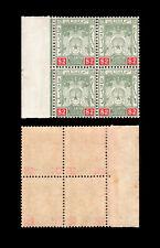 Malaya Kelantan 1911-15 Definitive $2 marginal block of 4, MNH.
