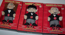 The Three Stooges Larry Moe & Curly Talking Knuckleheads Plush Doll Set - WORK
