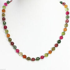 10mm Multicolor Faceted tourmaline Gemstone round Necklace 18''