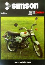 9 stück  1984 DDR Prospekt MOKICK SIMSON S 51 ENDURO 3,7PS  ZWEIRAD IFA Kombinat