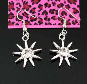 New Betsey Johnson Sun White Crystal Dangle Silver Hook Earrings woman Jewelry