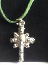 """Skull Cross TG277 Fine English Pewter On 18"""" Green Cord Necklace"""
