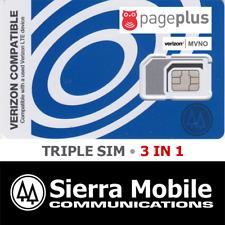 PAGE PLUS Triple SIM  MINI 2FF • MICRO 3FF • NANO 4FF • CDMA 4GLTE Verizon MVNO