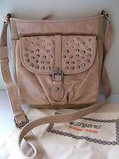 NWT Old Trend Modern Vintage LA Beige Leather Jacquard TULIP Shoulder Bag $165