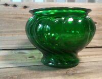 Vintage Napco Glass Planter Emerald Green Swirl Footed Bowl Vase - Collectible