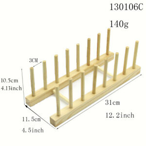 Bamboo Wooden Dish Rack, Plate Rack Stand Pot Lid Holder, Kitchen Organizer NEW