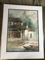 "Large Vintage ""Docked Boat Scene"" Watercolor Painting - Signed And Framed"