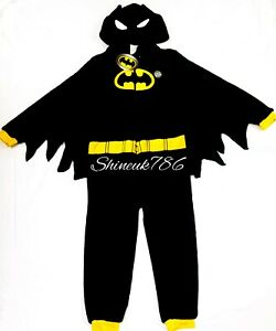 New DC Comics Fluffy Batman Kids all in one onesuit costume Hooded Primark Black