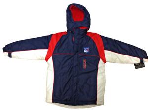 Boys Kids Youth Reebok New York NY Rangers NHL Hockey Full Zip Winter Jacket