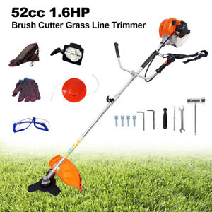 52cc 2-Stroke Gas Straight Shaft String Trimmer Backpack Brush Cutter Weed Eater