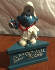 Smurf-A-Gram Virus Doctor's Orders Get Well Soon - Vintage Rare Stand Figure