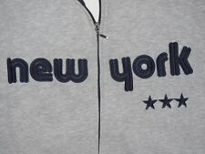RARE HIP HOP NEW YORK SEWN ON SPELL OUT FULL ZIP SWEATSHIRT TRACK JACKET XL